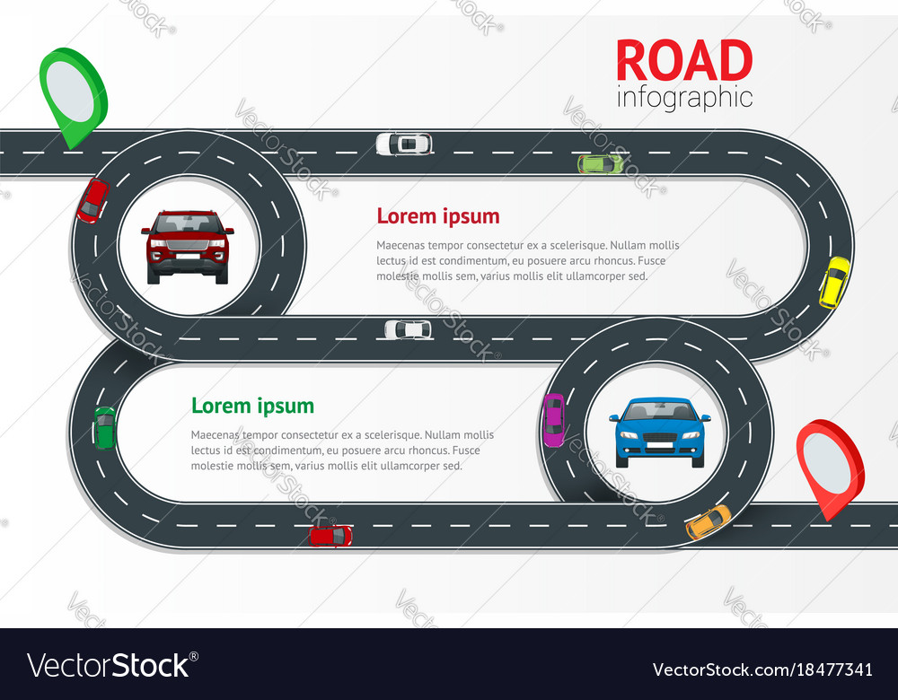 Road infographic template with colorful pin