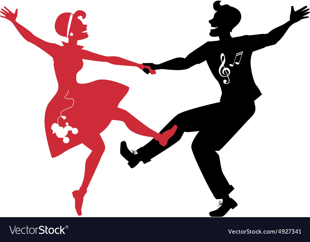 Rockabilly couple dancing silhouette