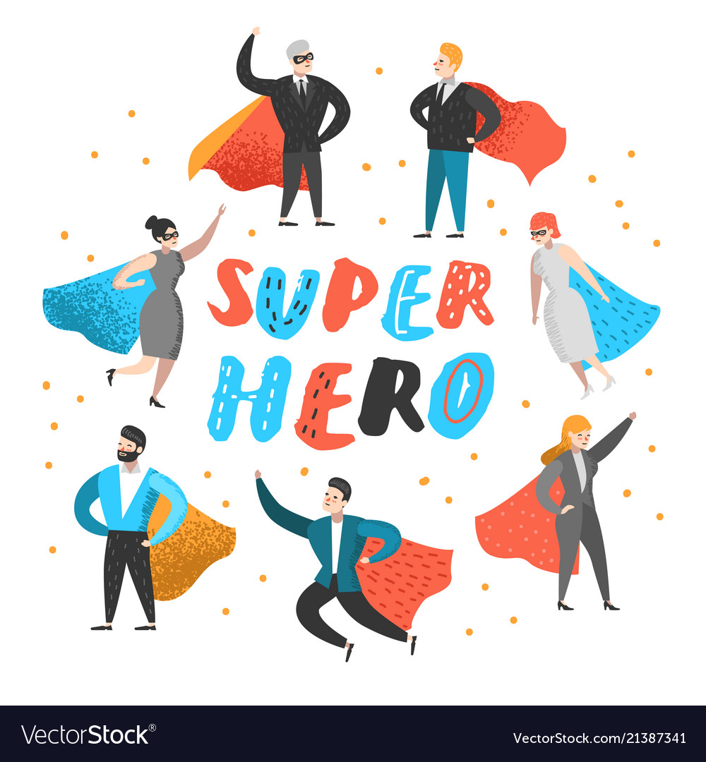 Superhero business people characters business