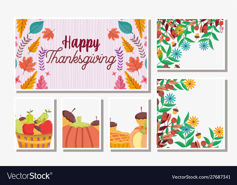Thanksgiving cards set food and foliage leaves