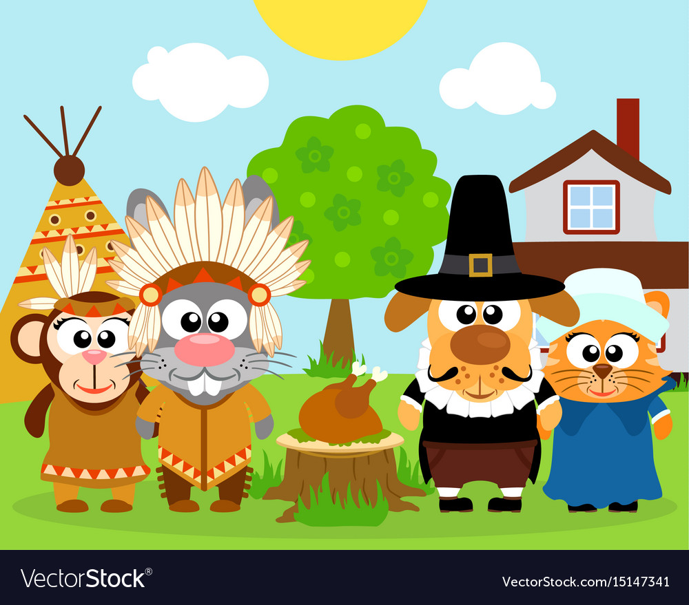 Thanksgiving day background with funny animals vec