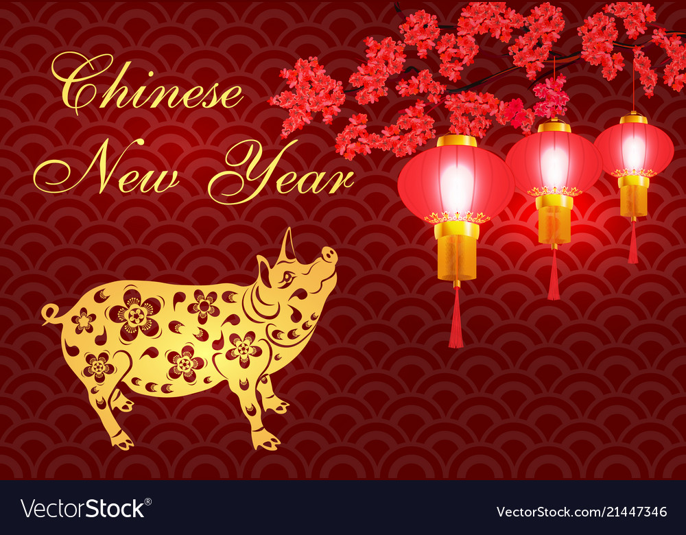 2019 zodiac pig greeting card chinese new year vector image m4hsunfo