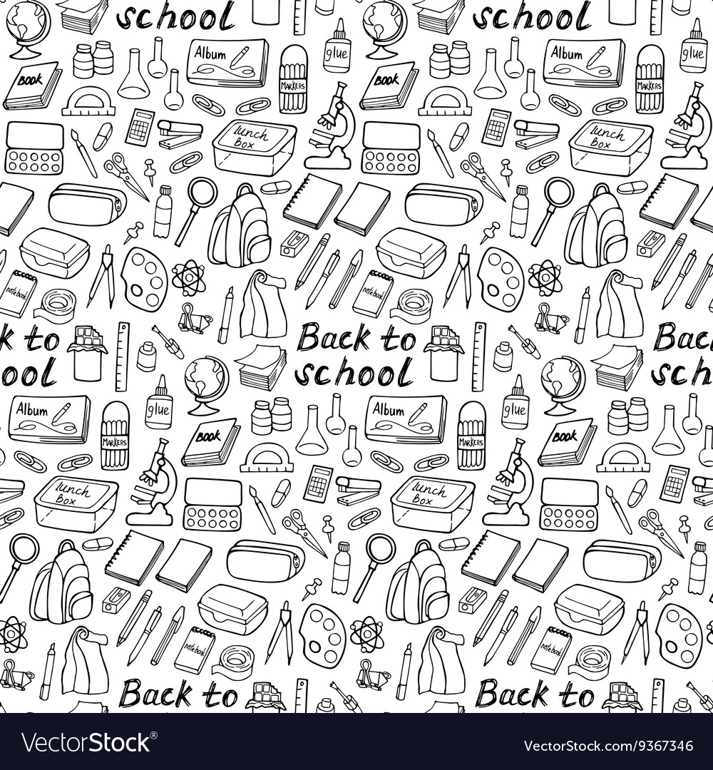 Back to school doodle seamless pattern