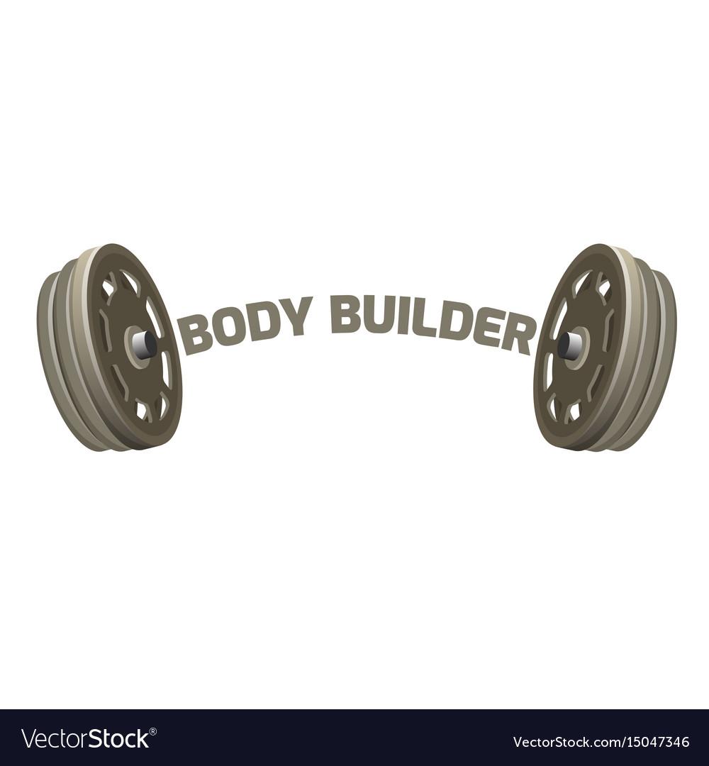 Bodybuilder logotype design with two dumbbells