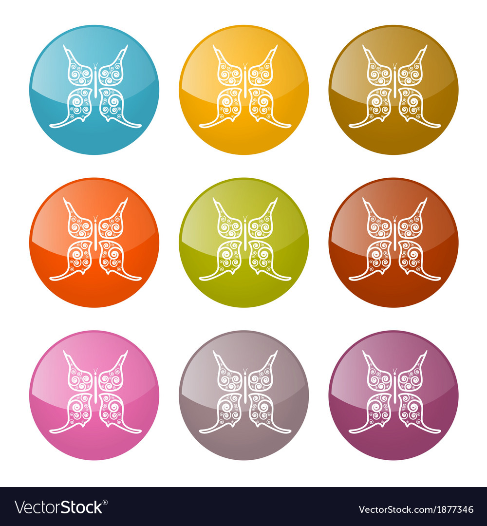 Butterflies Icons Colorful Set