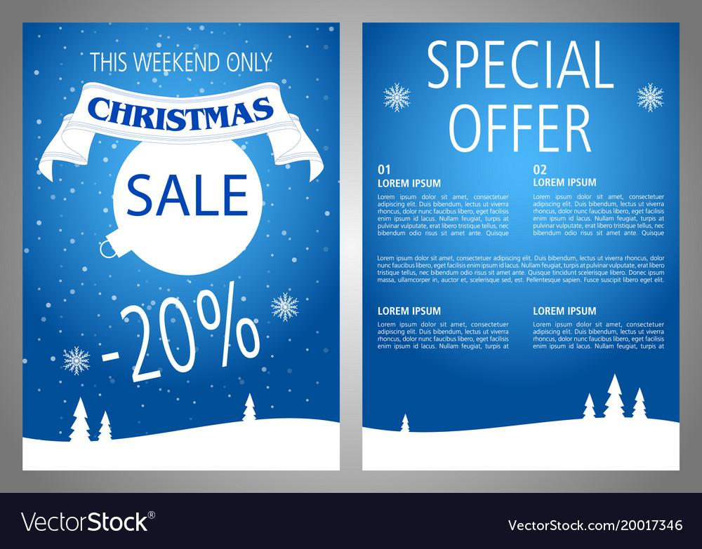 christmas sale flyer design in blue color vector image