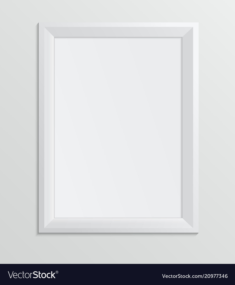 Empty white frame on a white background design a4
