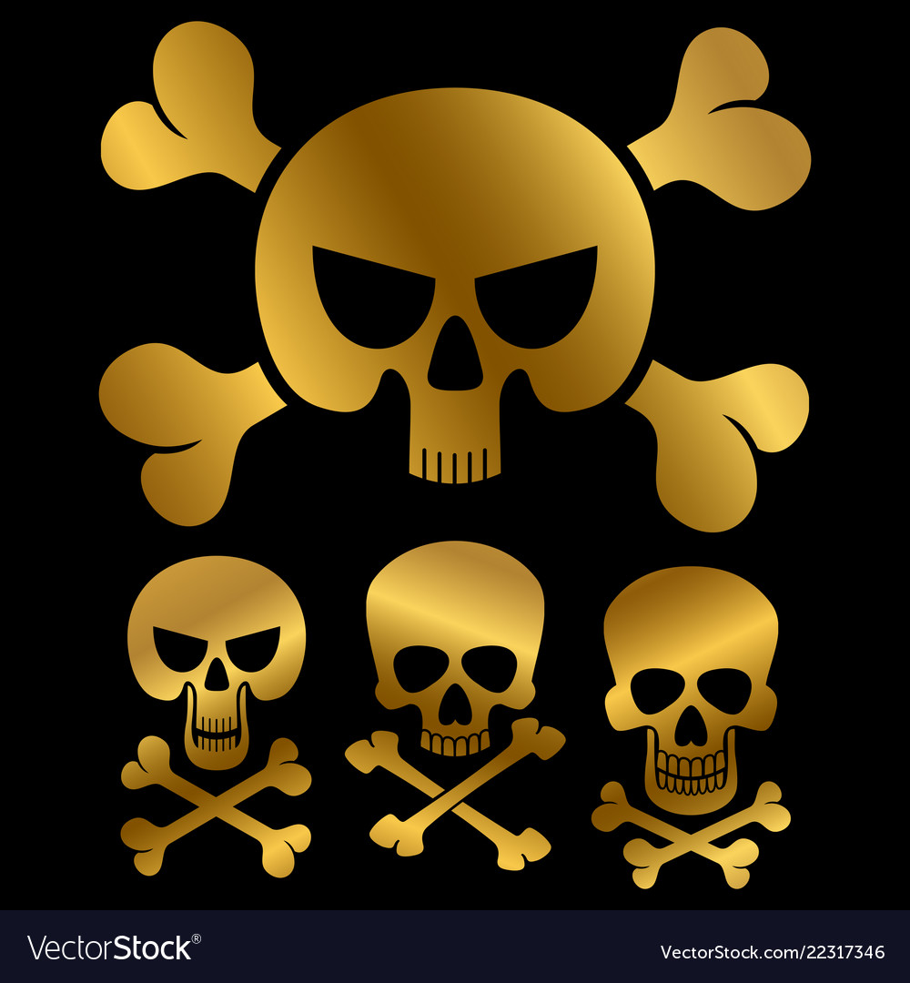 Gold piracy skulls icons isolated on black