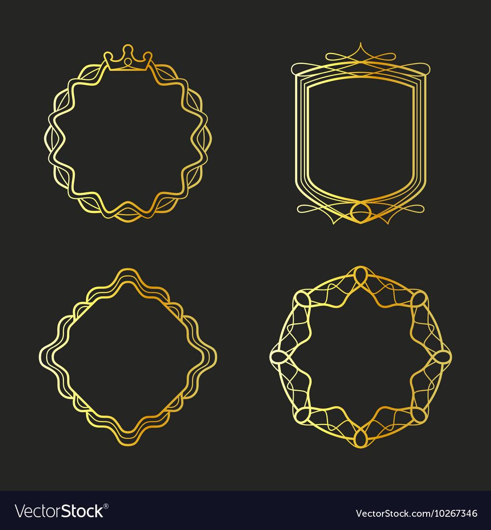 Golden emblems and badges frames set vector image