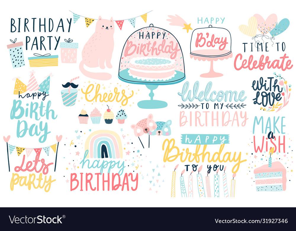 Happy birthday lettering set hand drawn