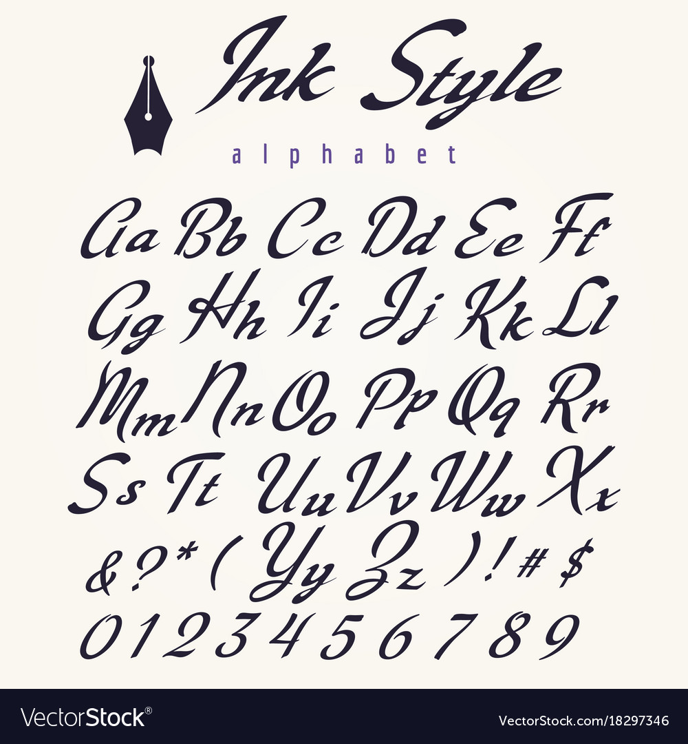 Alphabet Style ink style alphabet retro script letters royalty free vector