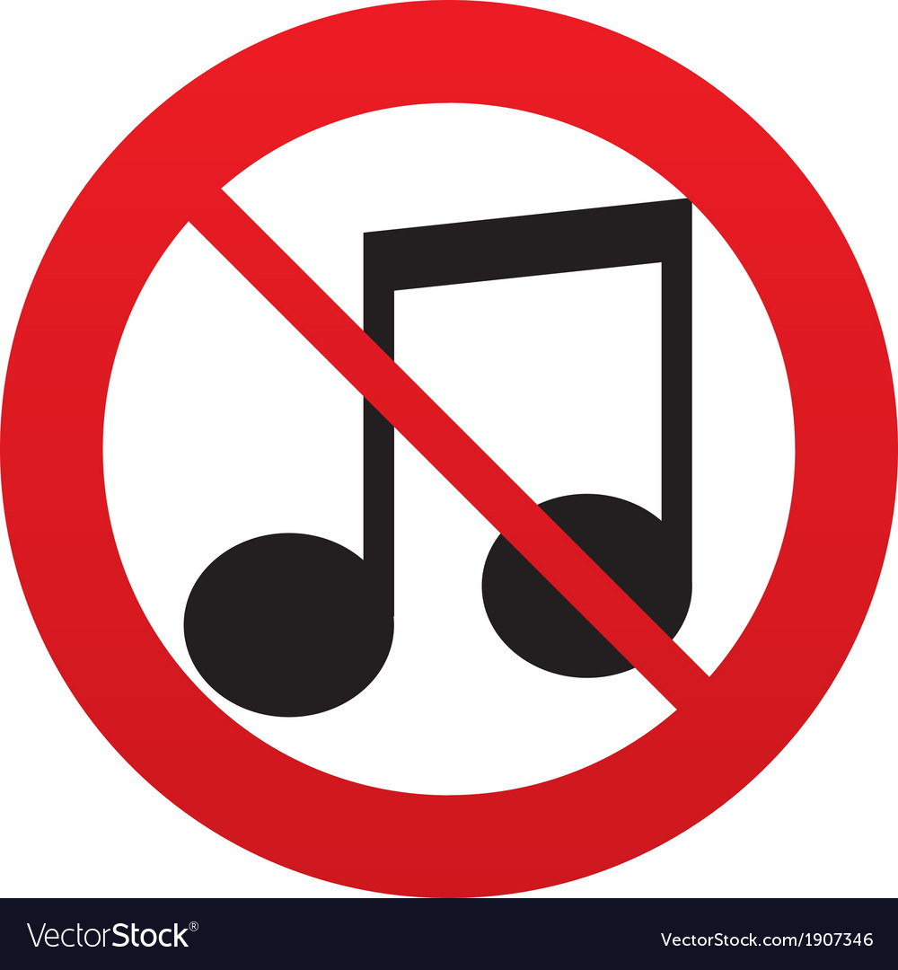 No Music Note Sign Icon Musical Symbol Vector Image
