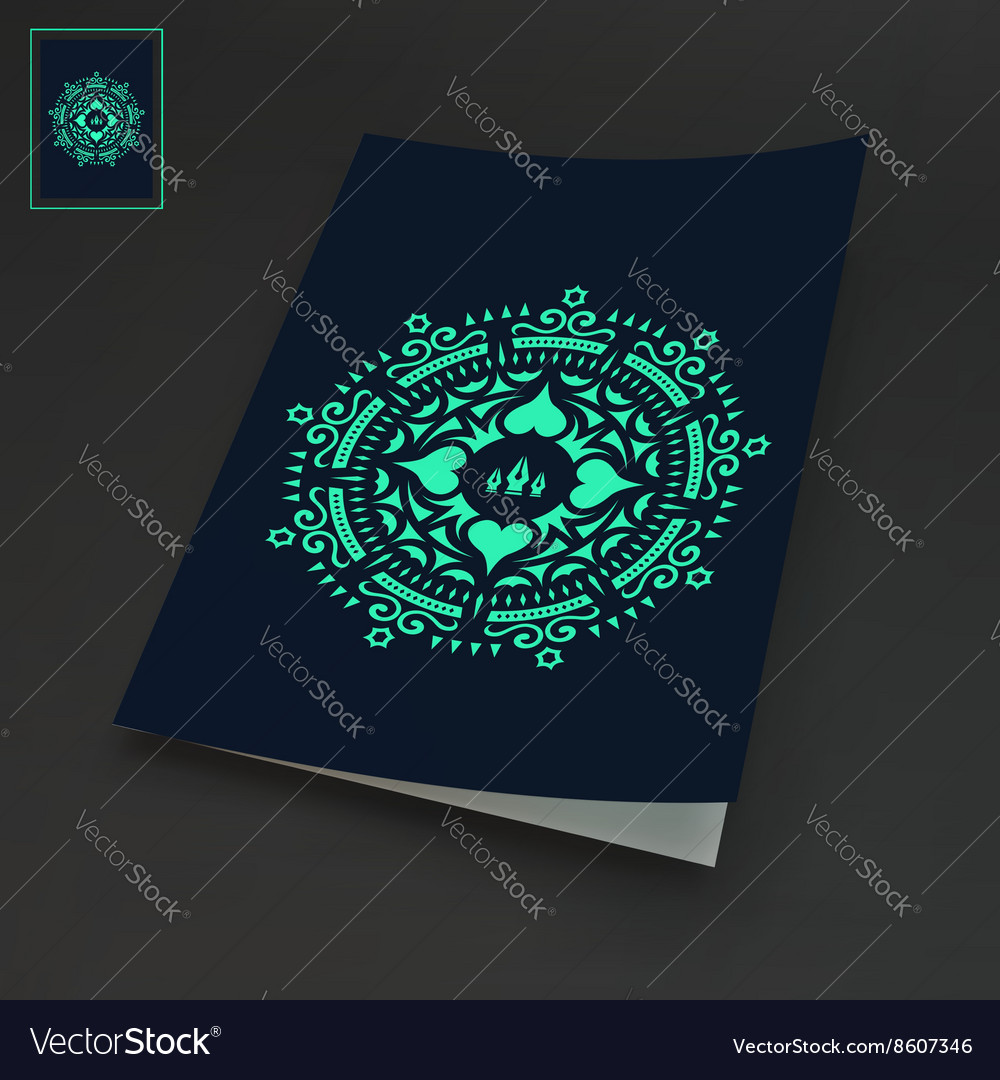 notebook cover template oriental design royalty free vector
