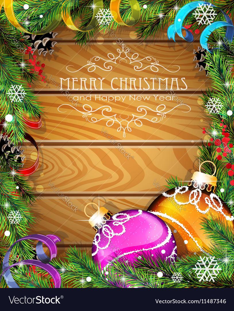 Purple and orange Christmas balls on wooden