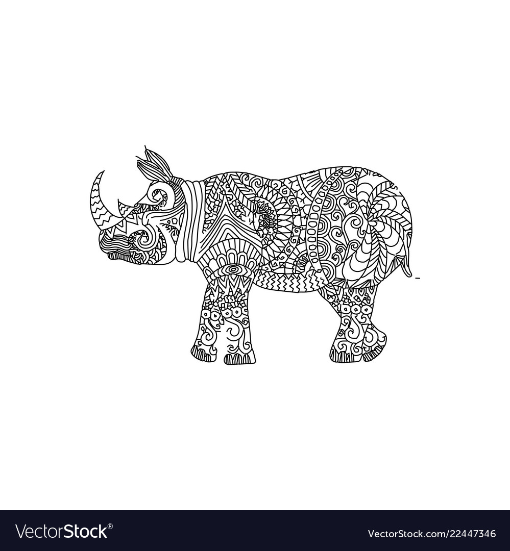 Rhino animal ornament vector image
