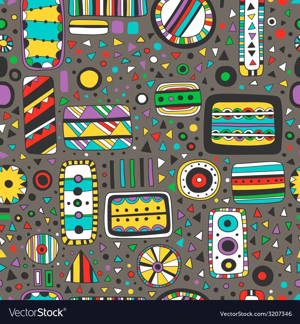 Seamless bright pattern of abstract elements