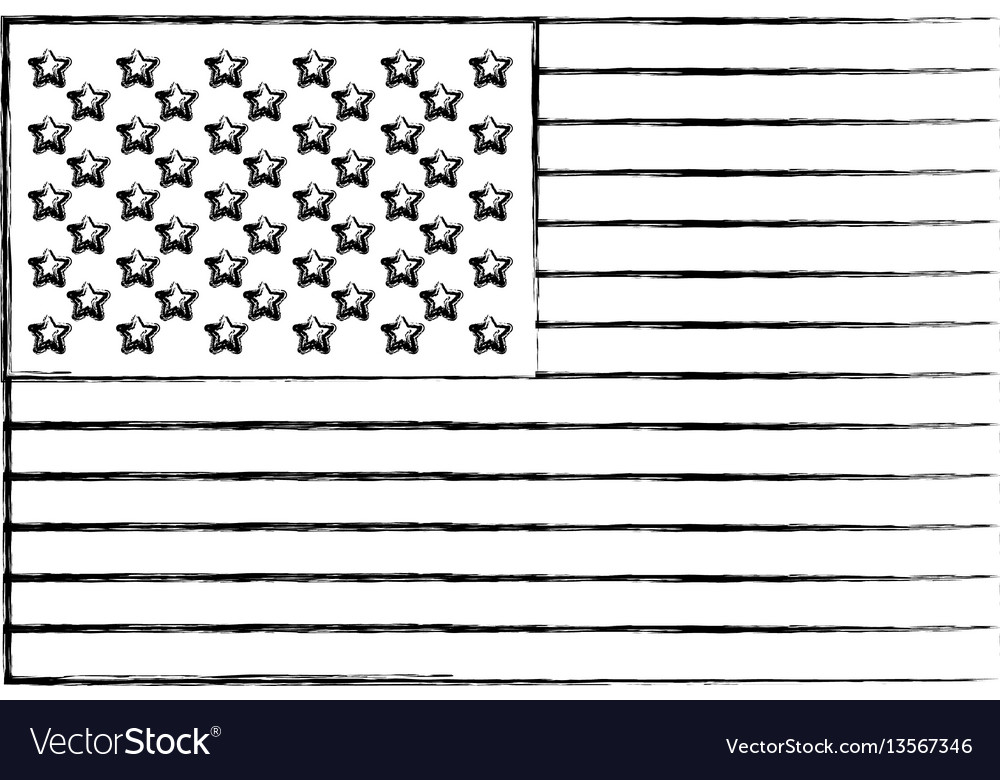 Silhouette united states flag icon vector image