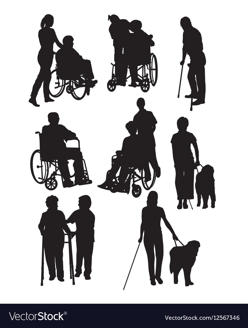 The Activity of Disabled People Silhouettes