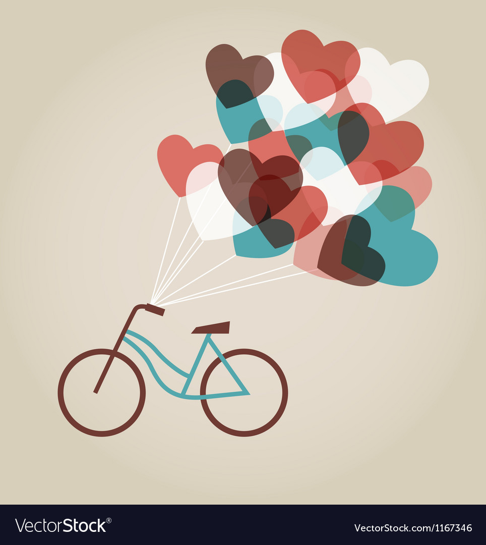 Valentines card with tandem bicycle