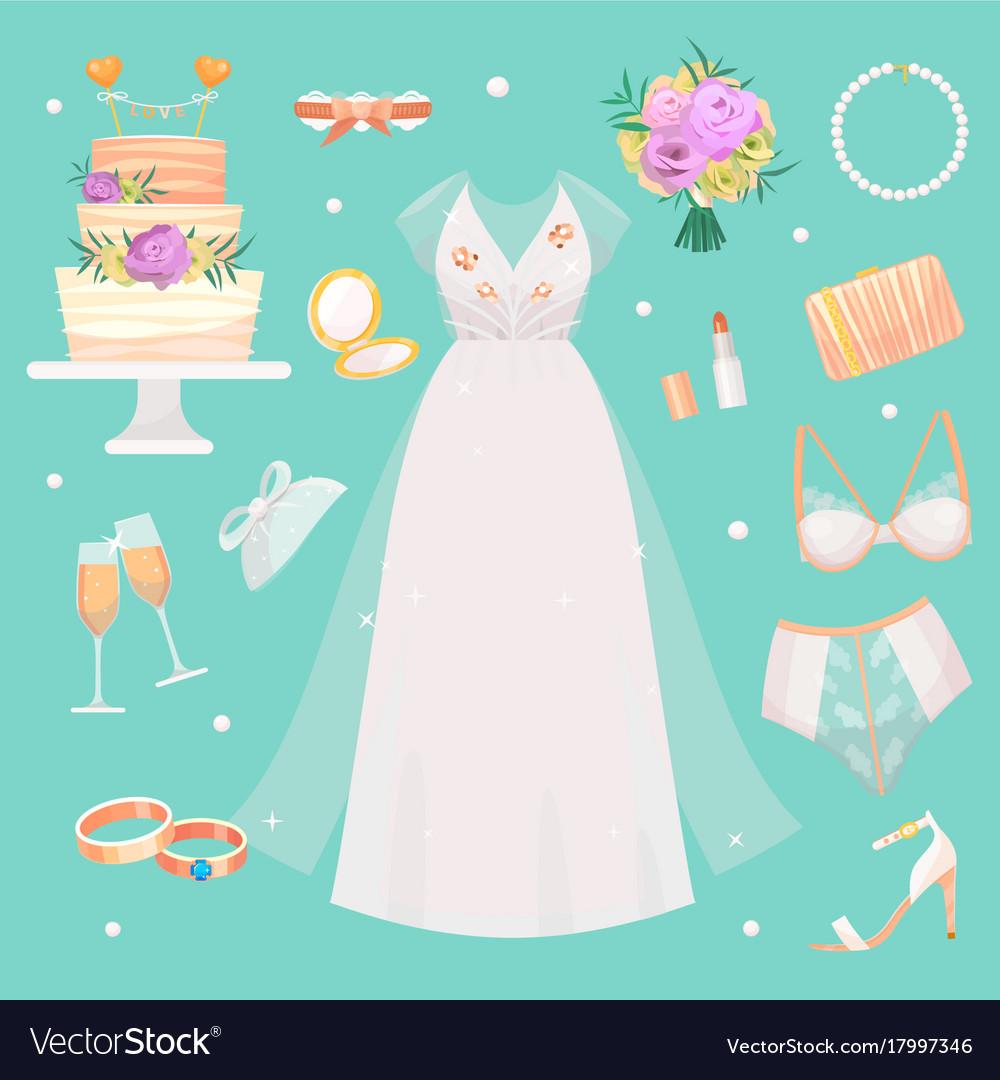 Wedding ceremony fashion bride dress and
