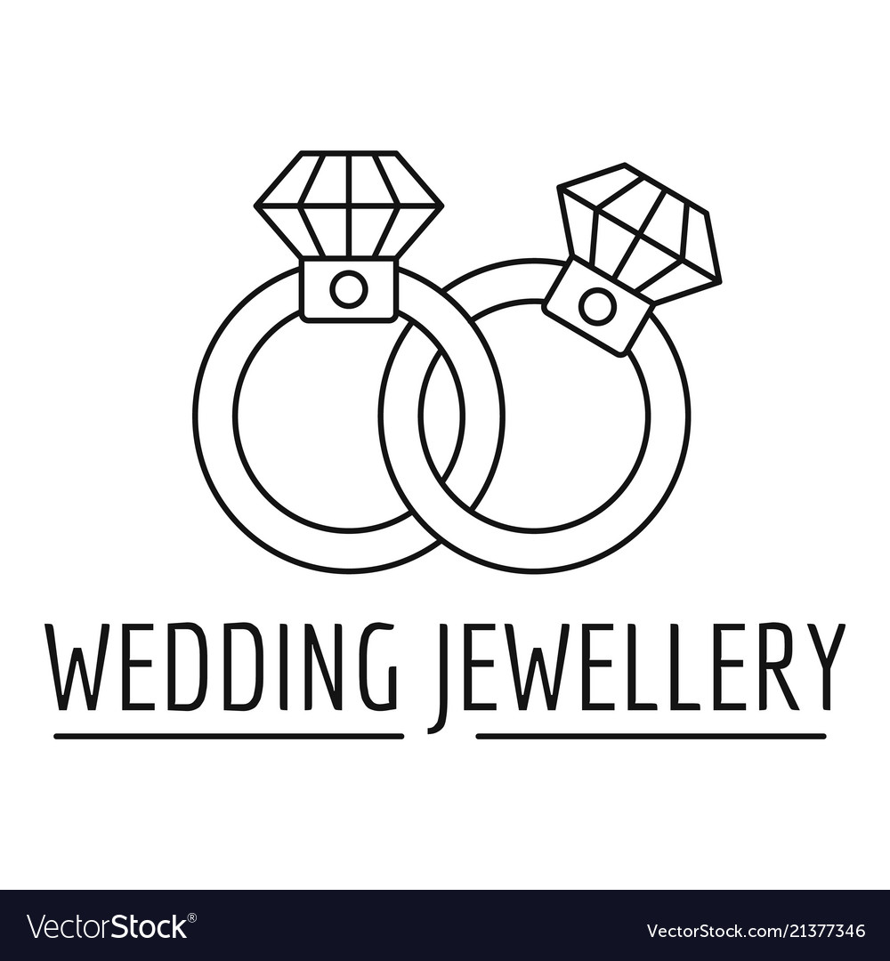 Wedding Rings Jewelry Logo Outline Style Vector Image