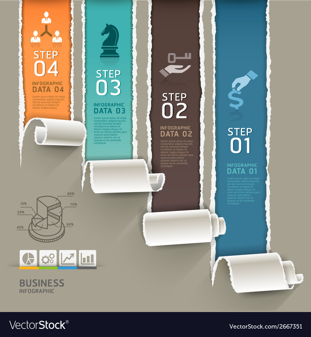 Abstract infographics template torn paper style