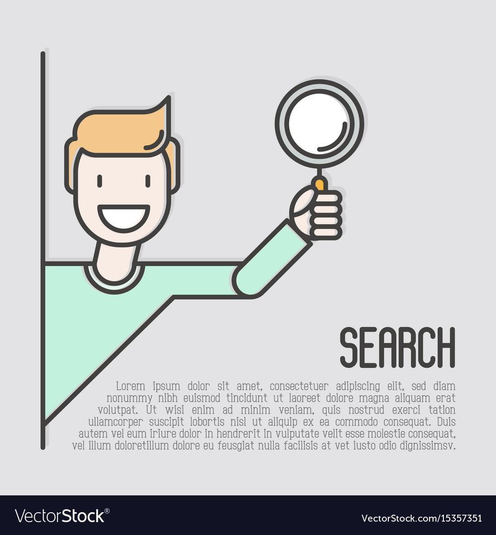 Cartoon happy man with magnifier vector image