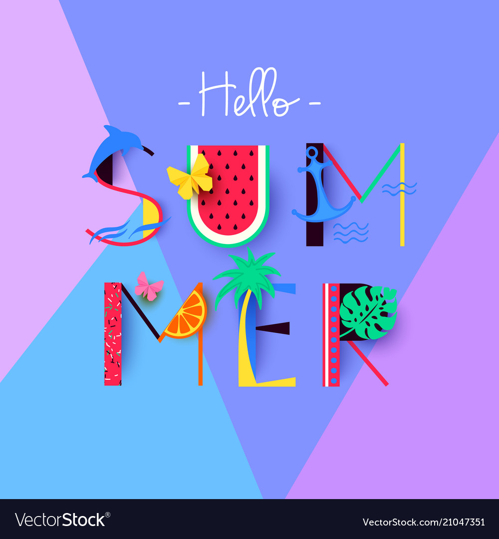 Colorful hello summer banner with signs and