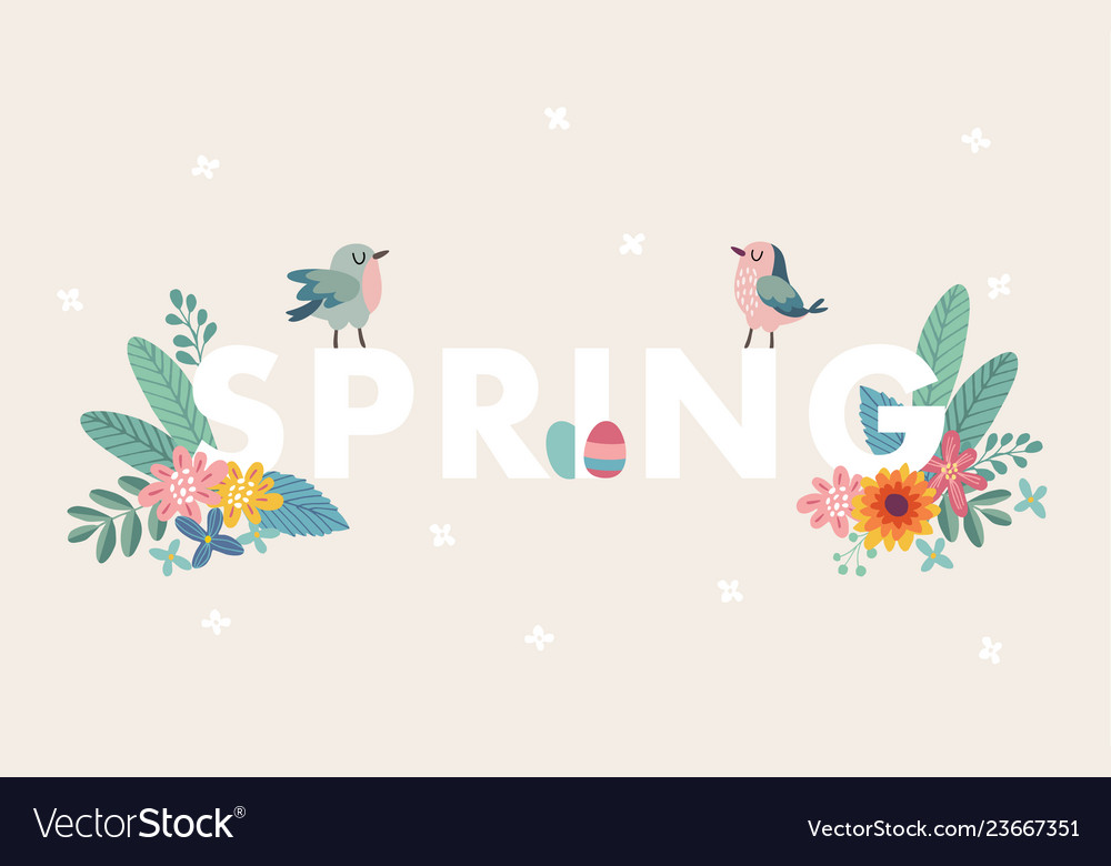 Cute spring web banner with birds colorful easter