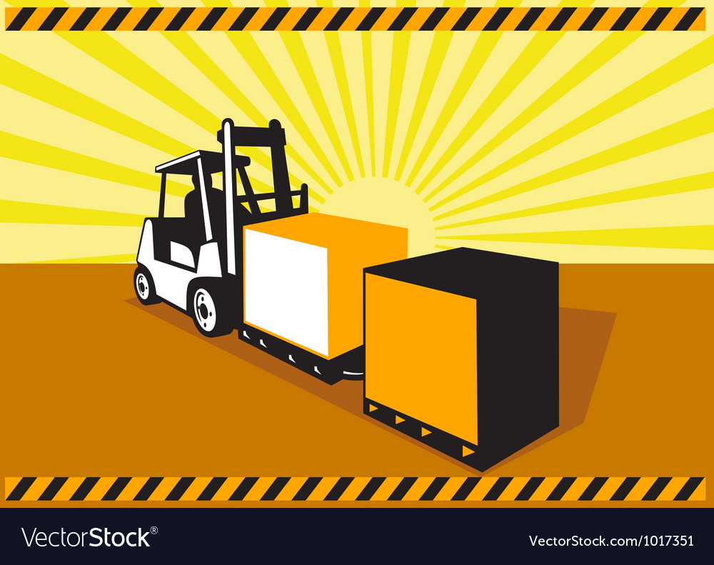 Forklift Truck Materials Handling Retro vector image