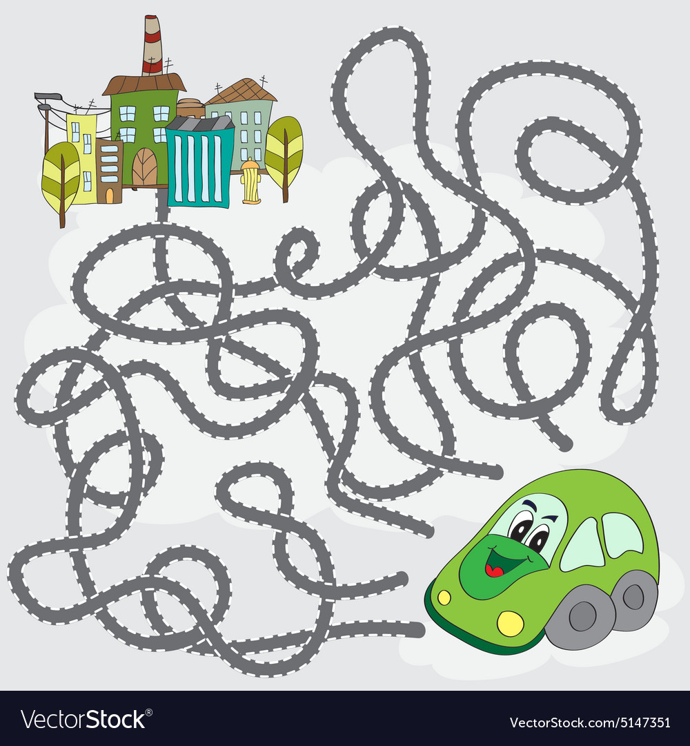 Funny maze game - help the car find way to city vector image