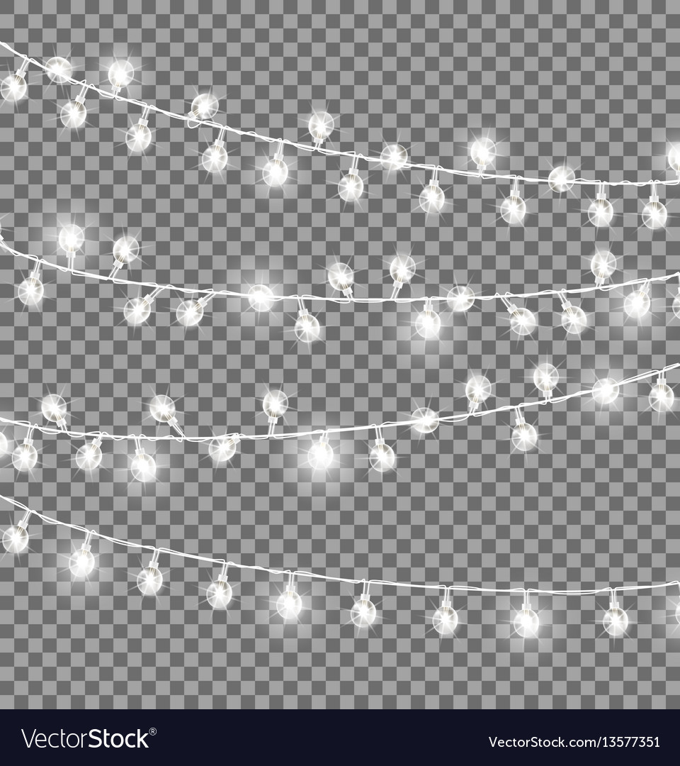 Garlands with round bulbs on dark background