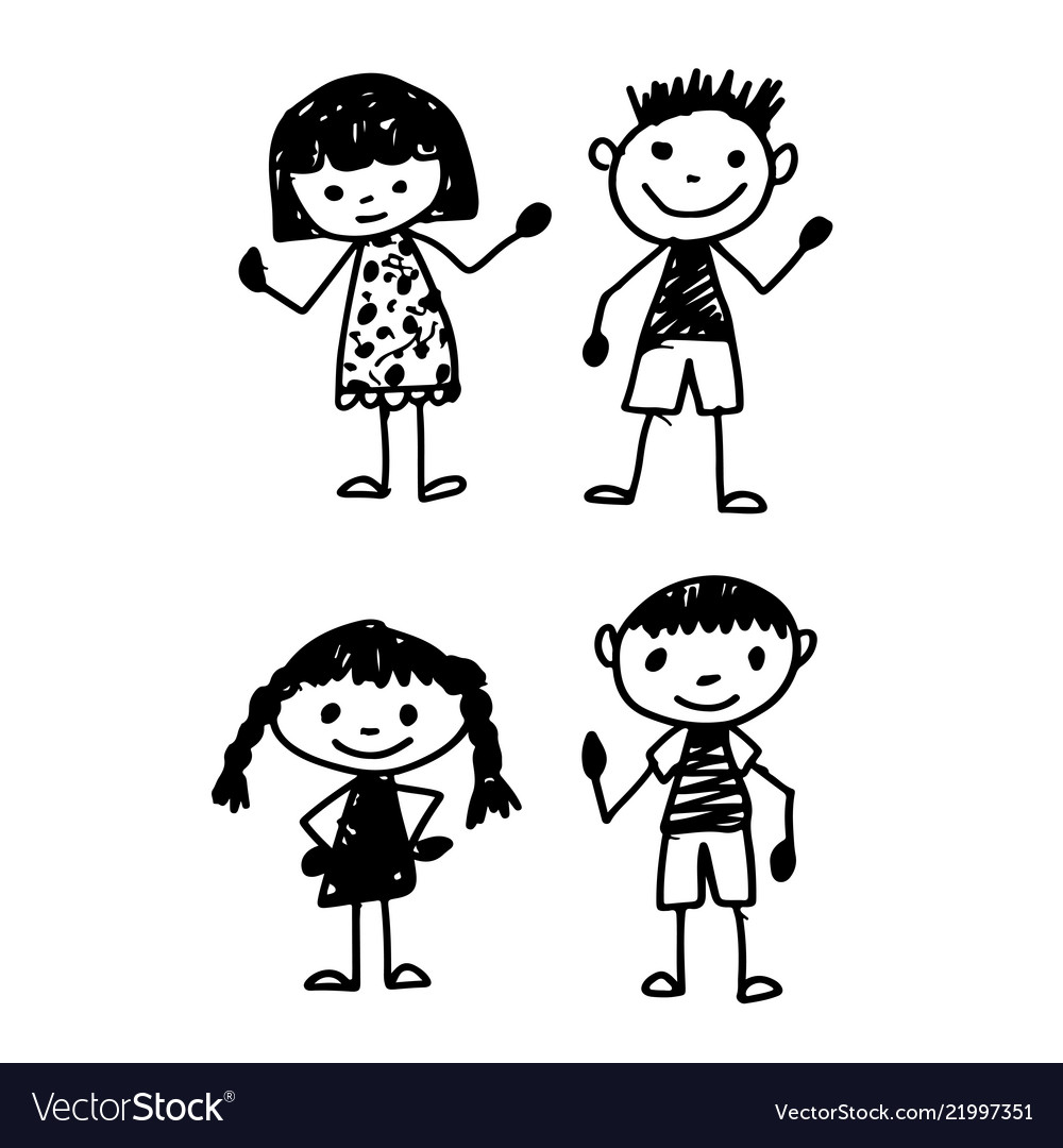 Hand Draw Kid Cartoon Royalty Free Vector Image