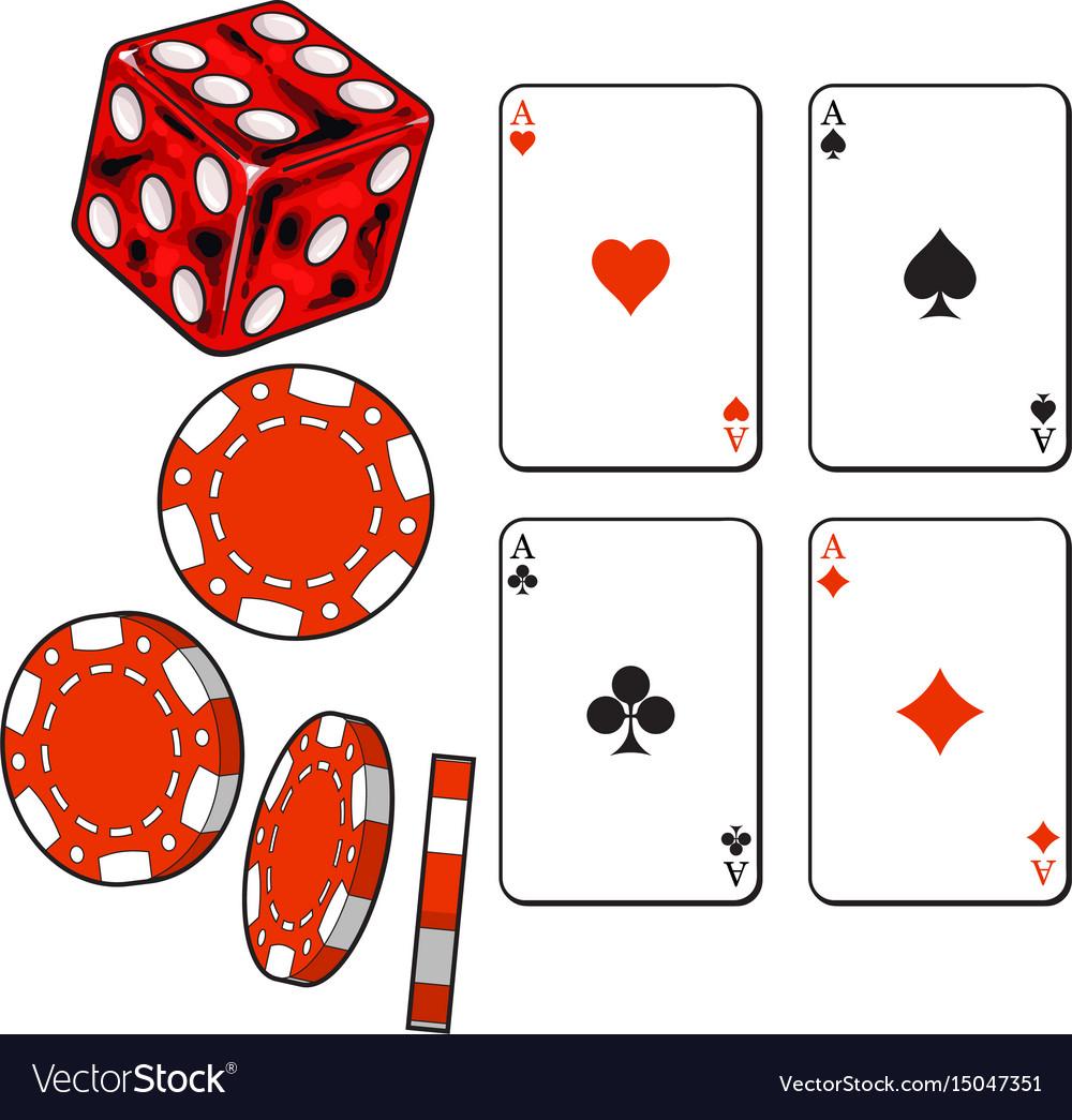 Heart spade clubs diamond ace cards dice and