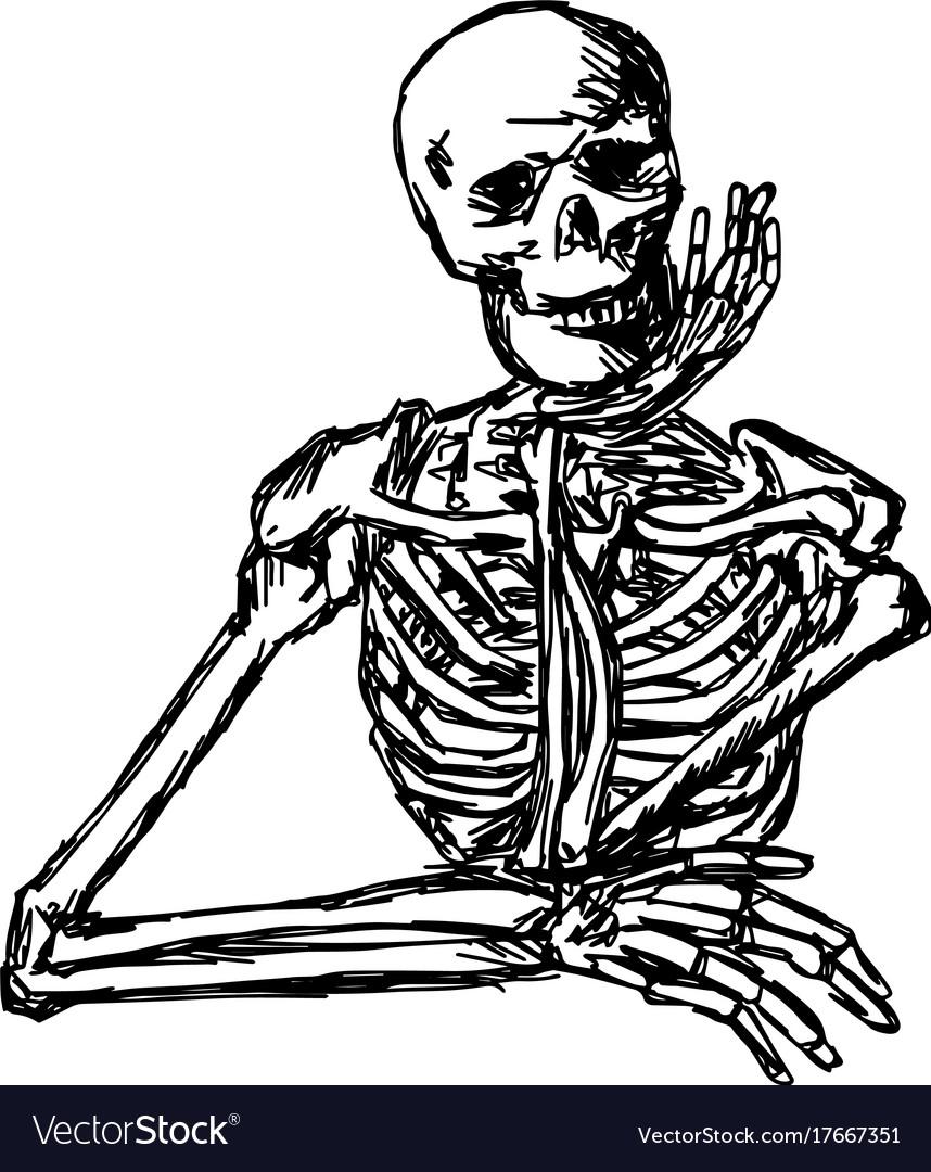 Human skeleton keeping hand on chin
