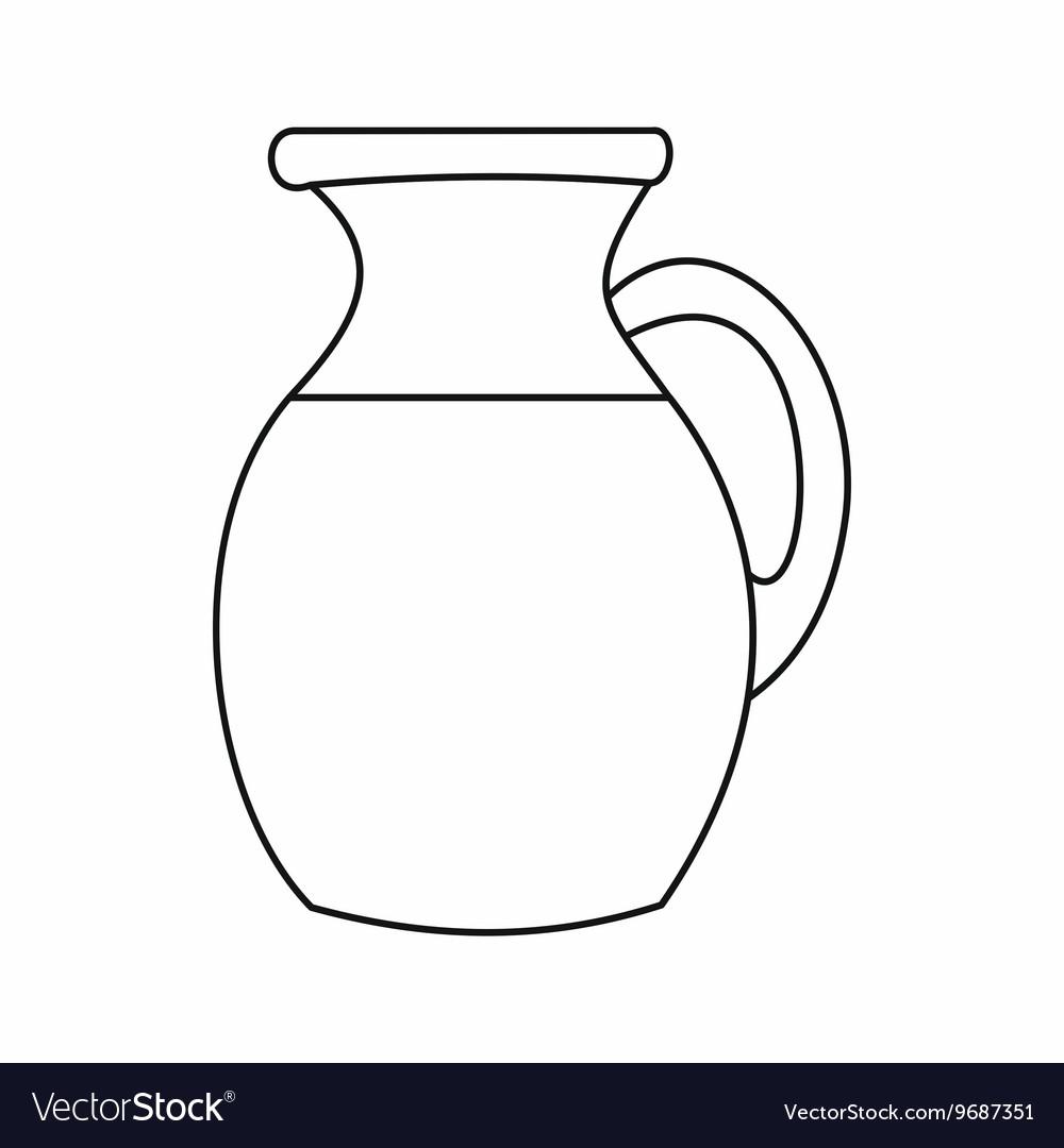 Line Art Jug : Jug of milk icon outline style royalty free vector image