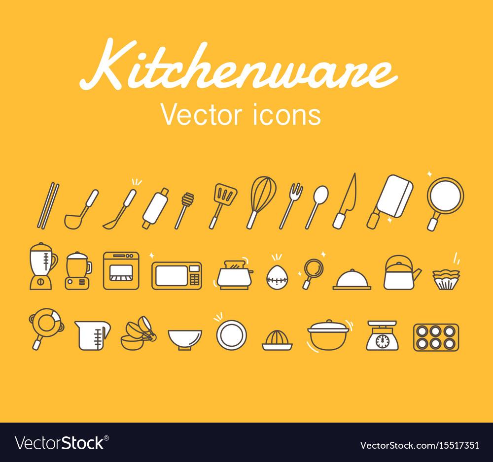Kitchenware icons design set