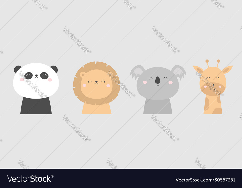 Koala panda bear giraffe lion face head icon set