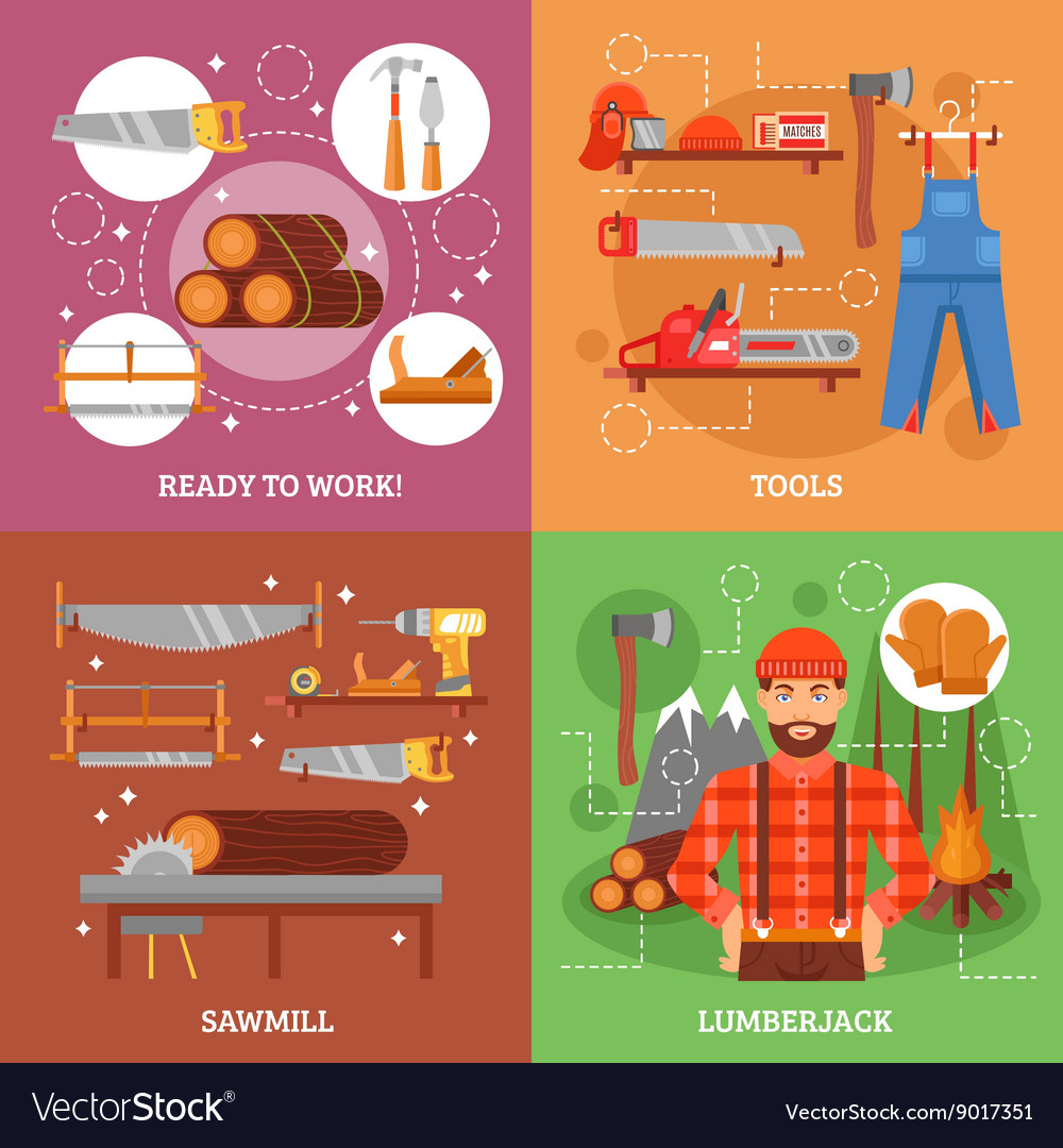 Lumberjack And Tools For Working Wood Royalty Free Vector