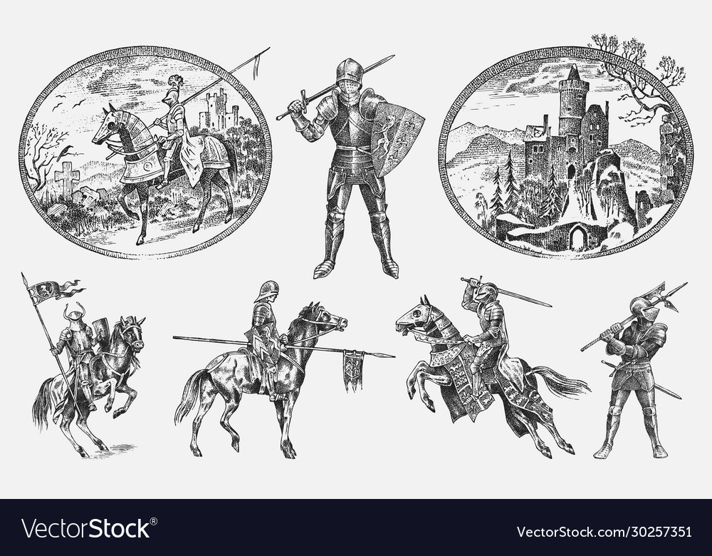 Medieval armed knight in armor and on a horse