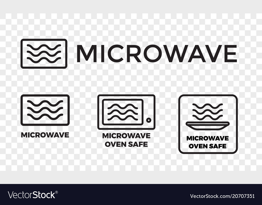 Microwave Oven Safe Icon Set Royalty Free Vector Image