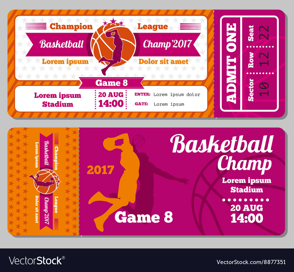Modern basketball ticket template Royalty Free Vector Image