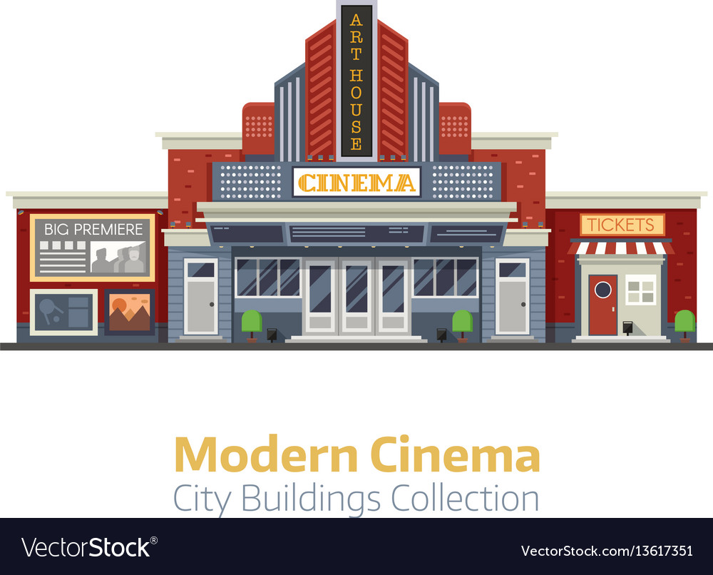Modern Cinema Building Exterior Royalty Free Vector Image