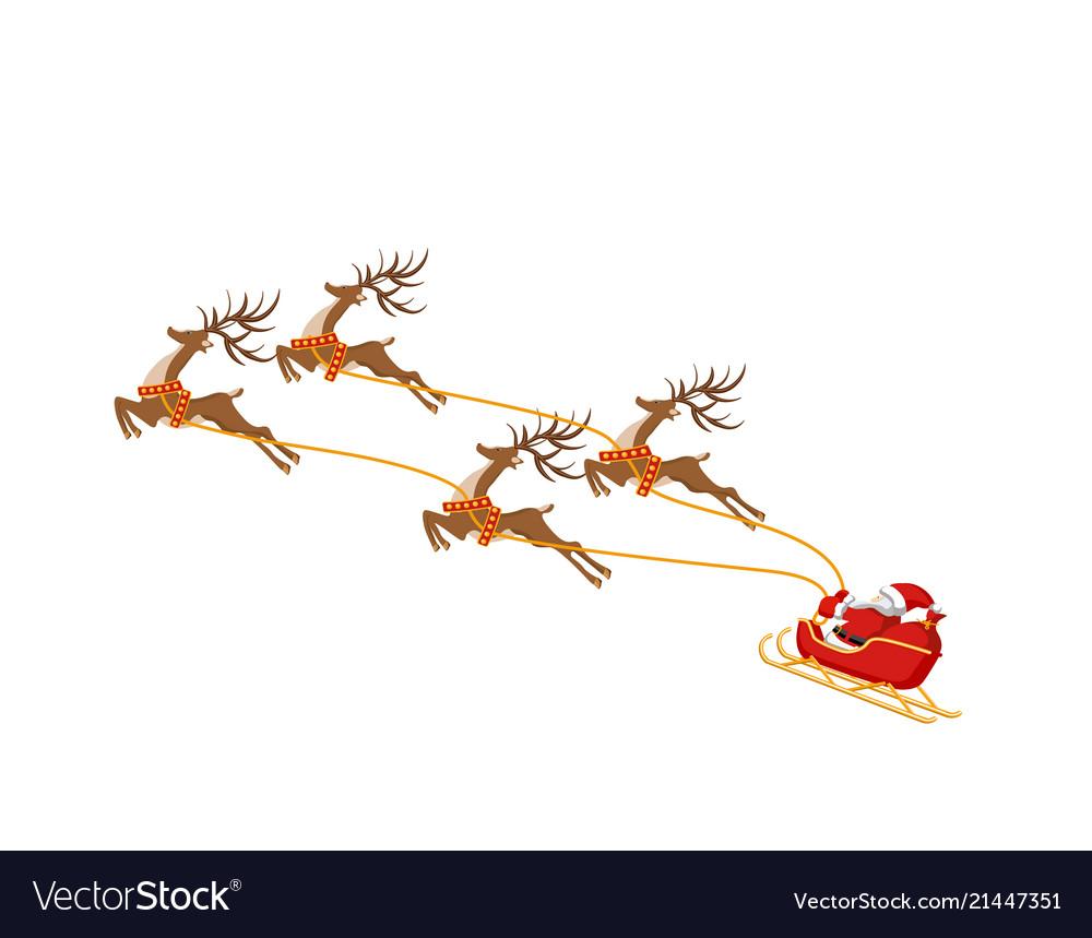 New year christmas santa claus on a sleigh drawn