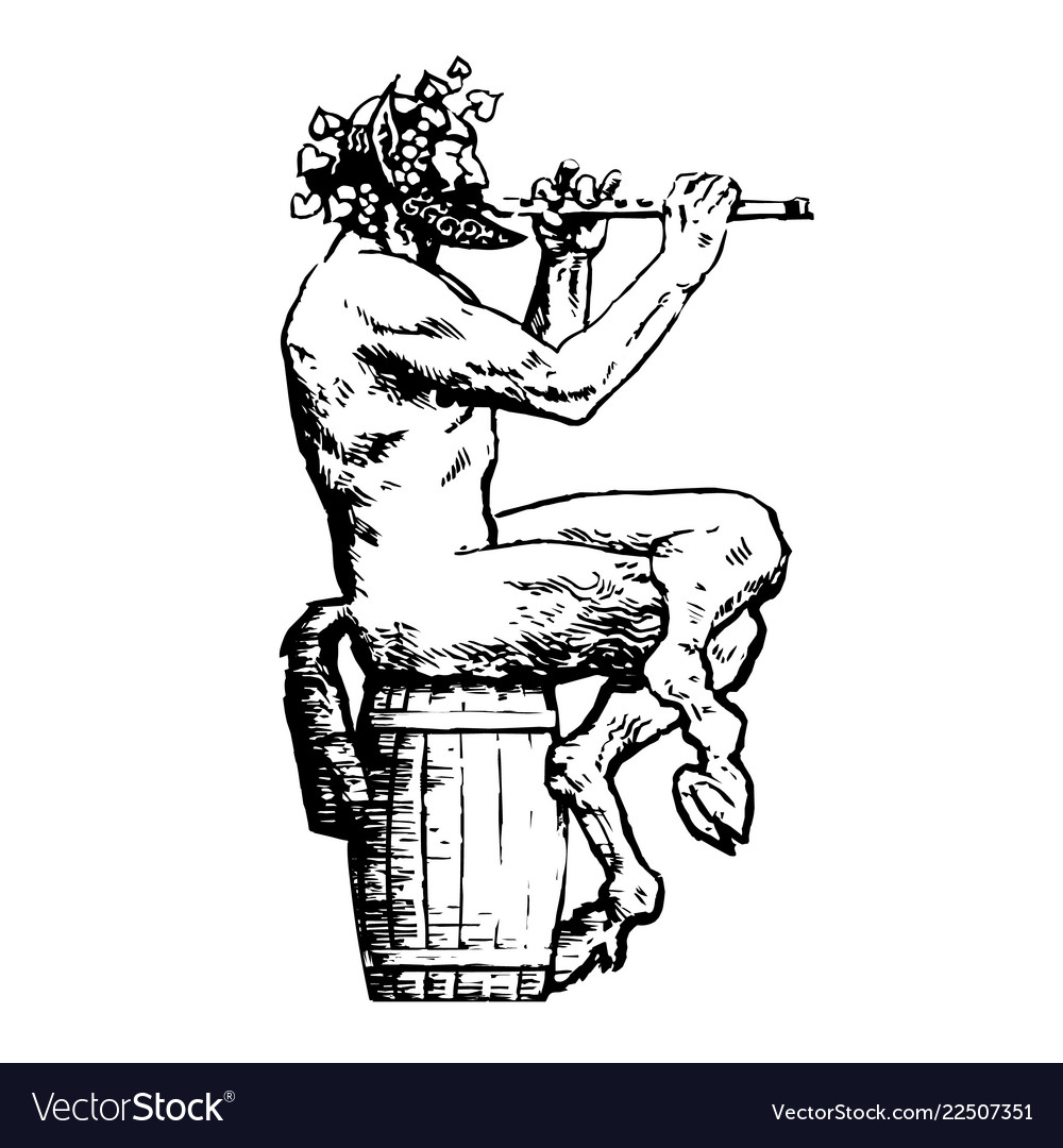 Satyr sitting on wooden barrel and playing flute