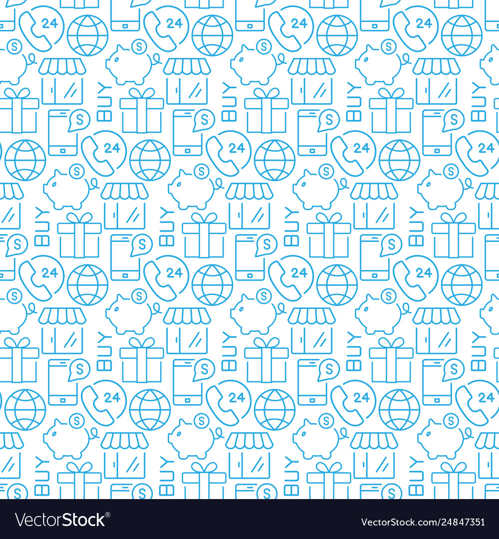 Seamless pattern with icons e- commerce items