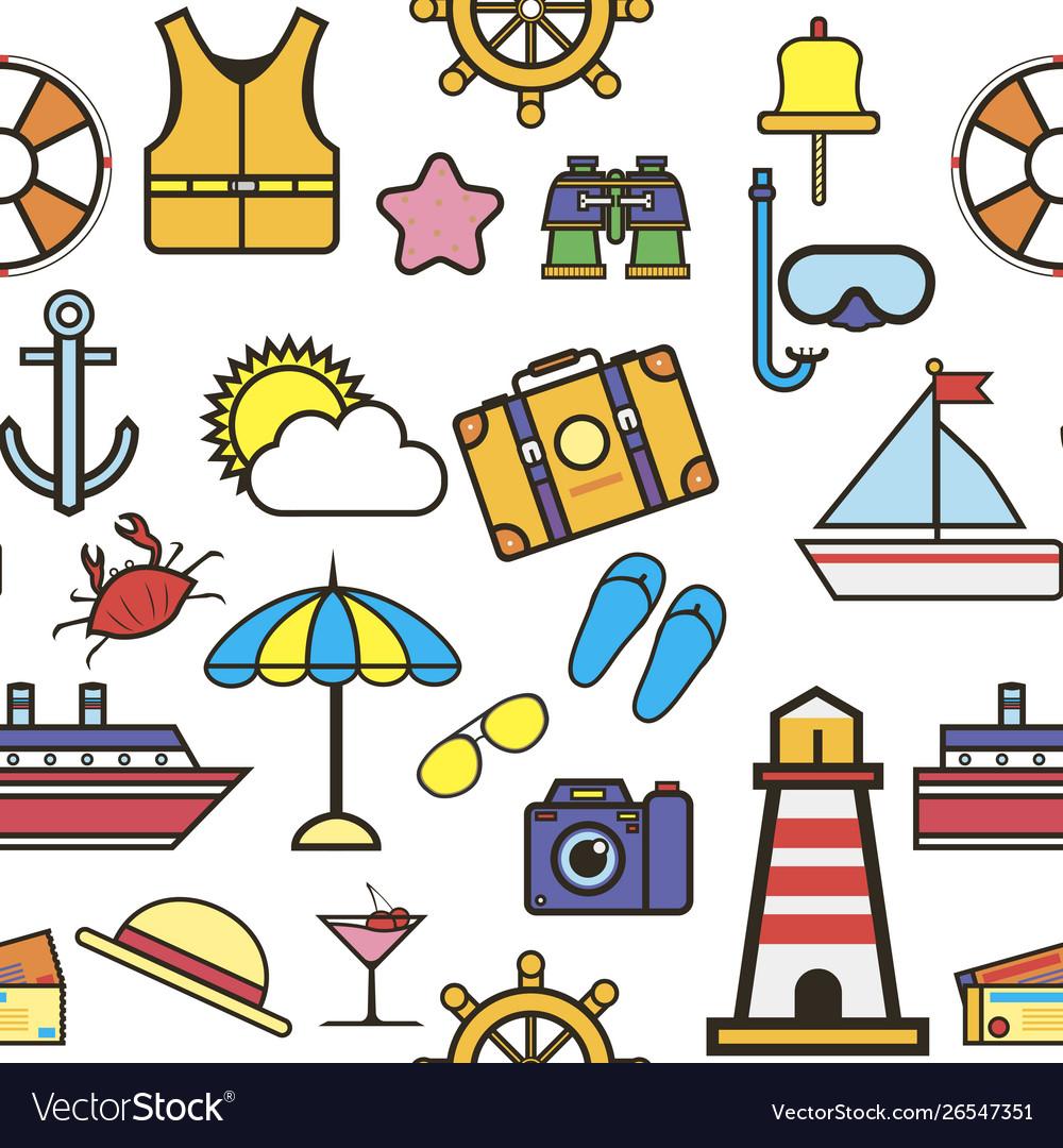 Summer items vacation and holidays seamless