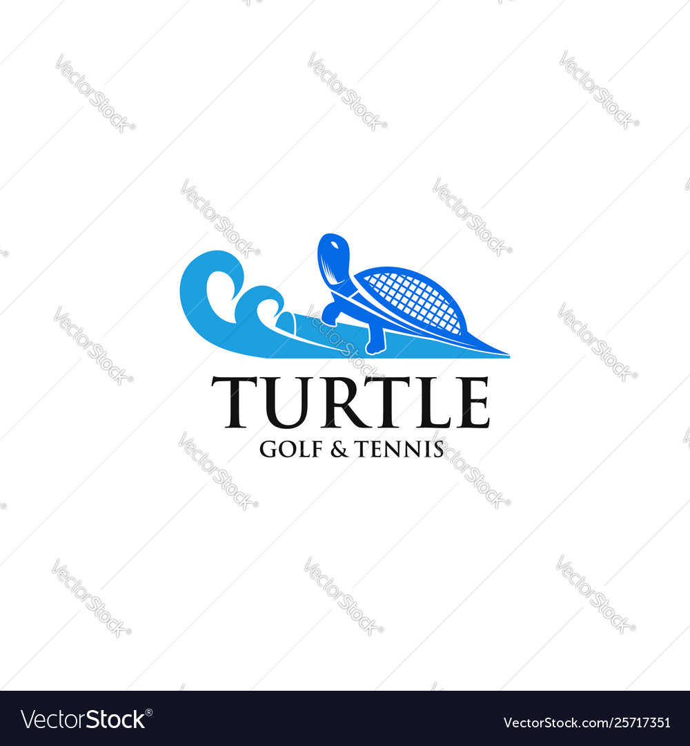Turtle golf and tennis logo