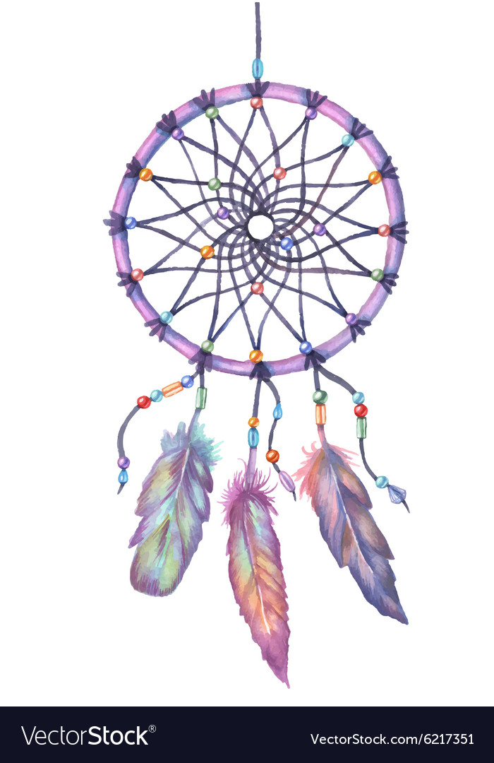 Watercolor Dream Catcher Hand Drawn Royalty Free Vector Adorable Water Color Dream Catcher