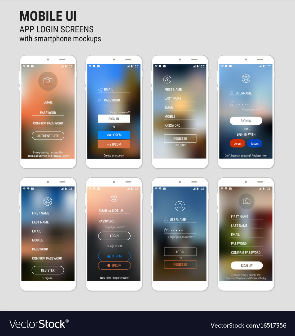 abstract ui sign in and sign up screens mockup kit